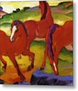 Grazing Horses Iv The Red Horses 1911 Metal Print