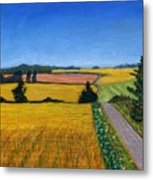 Great Bedwyn Wheat Fields Painting Metal Print