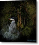 Great Blue Heron On The River Metal Print