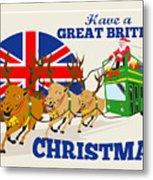 Great British Christmas Santa Reindeer Doube Decker Bus Metal Print