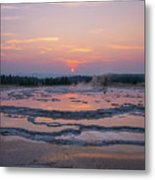 Great Fountain Geyser Sunset Reflections Metal Print