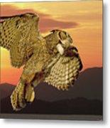 Great Horned Owl At Sunrise Metal Print
