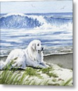 Great Pyrenees At The Beach Metal Print