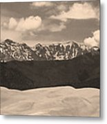 Great Sand Dunes Panorama 1 Sepia Metal Print