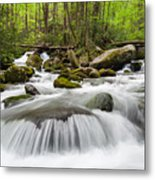 Great Smoky Mountain Roaring Fork Spring Cascade Metal Print by Mark VanDyke