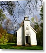 Great Smoky Mountains Spring Storms Over Palmer Chapel  Metal Print