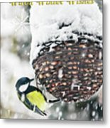 Great Tit In The Snow Card Metal Print