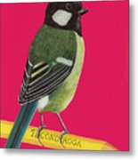 Great Tit Perched On Pencil Metal Print