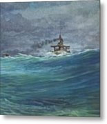 Great White Fleet In A Squall Metal Print