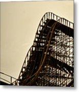 Great White Roller Coaster - Adventure Pier Wildwood Nj In Sepia Triptych 1 Metal Print