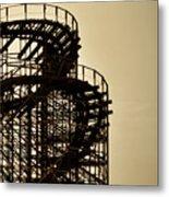 Great White Roller Coaster - Adventure Pier Wildwood Nj In Sepia Triptych 3 Metal Print
