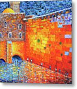 Wailing Wall Greatness In The Evening Jerusalem Palette Knife Painting Metal Print