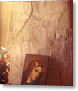 Greece. Lesvos. 16th Century Fresco And Virgin Mary Icon Metal Print