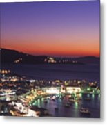 Greece Mykonos Harbor. Dusk Metal Print
