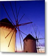Greece. Mykonos Town. Illuminated Windmills At Dusk. Metal Print