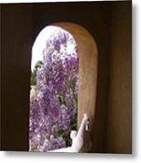 Greece Wisteria Through Arched Window Metal Print