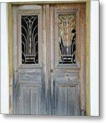 Greek Door With Wrought Iron Window Metal Print