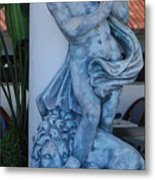 Greek Dude And Lion In Blue Metal Print