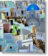 Greek Isle Of Santorini Metal Print