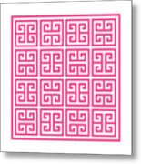 Greek Key With Border In French Pink Metal Print