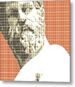 Greek Statue #1 - Orange Metal Print