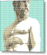 Greek Statue #2 - Light Blue Metal Print