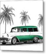 Green 56 Chevy Wagon Metal Print