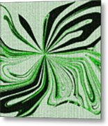 Green And Black Embroidered Butterfly Abstract Metal Print