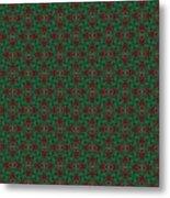 Green And Brown Chunky Cross Mirror Pattern Metal Print