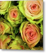 Green And Pink Rose Bouquet Metal Print