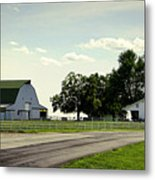 Green And White Farm Metal Print