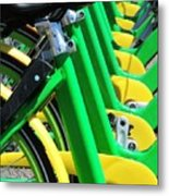 Green And Yellow Bicycles Metal Print