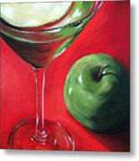 Green Apple Martini Metal Print