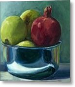 Green Apples And A Pomegranate Metal Print