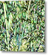 Green Bamboo Tree Metal Print