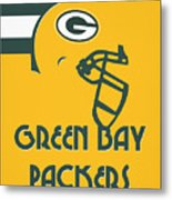 Green Bay Packers Team Vintage Art Metal Print