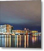 Green Bay Wisconsin City Skyline At Night Metal Print