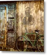 Green Bike Crooked Door Metal Print