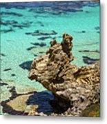Green Blue Ocean Water And Rocks Metal Print