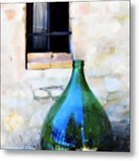 Green Bottle Italian Window Metal Print