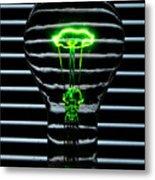 Green Bulb Metal Print