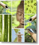 Green Collage Metal Print