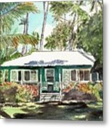 Green Cottage Metal Print by Marionette Taboniar