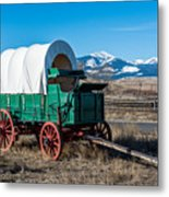 Green Covered Wagon Metal Print
