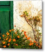 Green Door - Orange Flowers Metal Print
