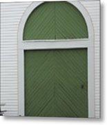 Green Door Arch Metal Print