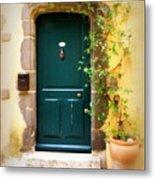 Green Door With Vine Metal Print