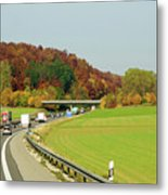 Green Field And Autumn Color Road Metal Print