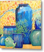 Green Fish And Friends Metal Print