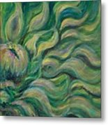 Green Flowing Flower Metal Print